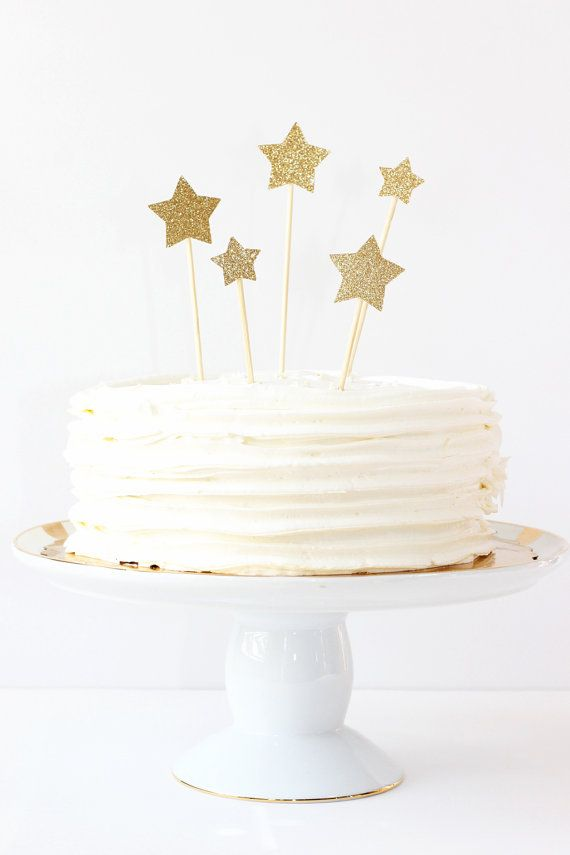 Gold Glitter Star Cake Toppers Wedding Cake by WhenitRainsPaper