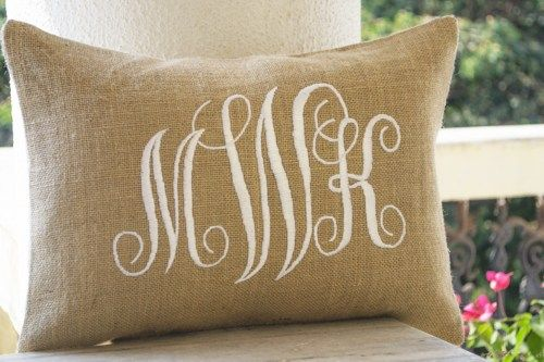 Burlap lumbar monogram pillows custom made with three letters in elegant cursive font. You can choose up to three letter monogram. Shown hereon natural burlap but you can customize by choosing any col