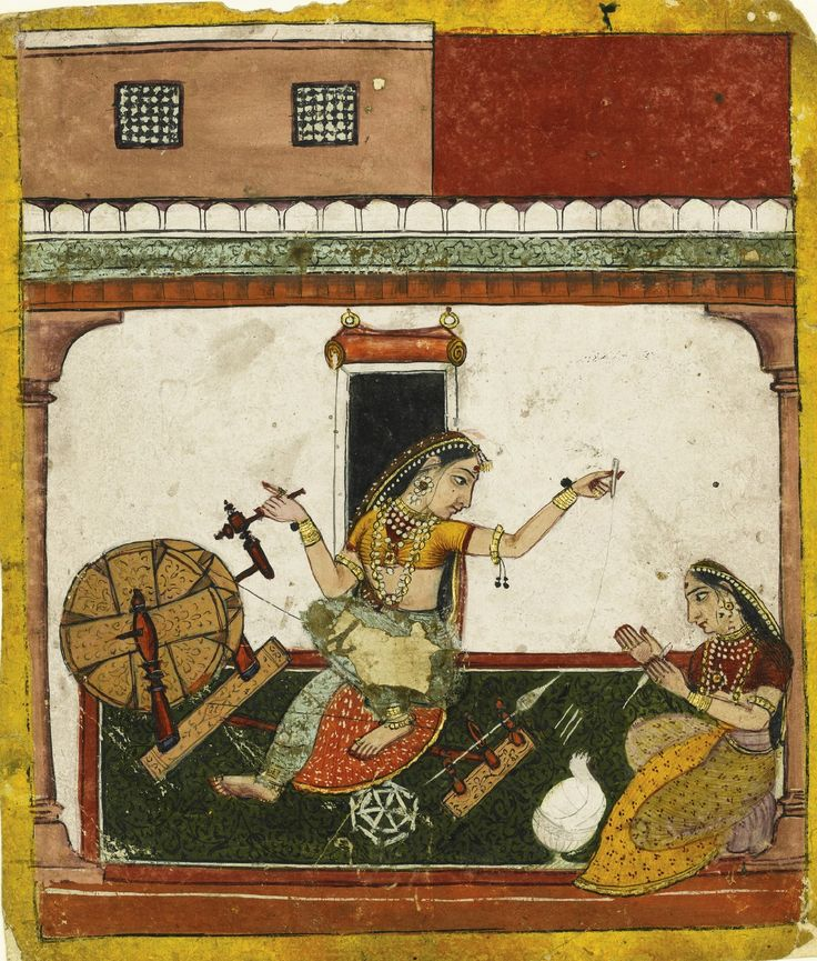An illustration from a Ragamala series: Todi Ragini of Dipak, two ladies spinning, Arki, Baghal, circa 1700; gouache heightened with gold on paper, laid down on stout paper.