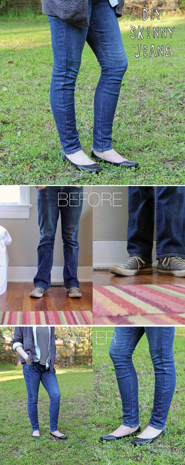 Easy Pants Refashion Project for Women and Teens | DIY Skinny Jeans by DIY Ready at http://diyready.com/diy-clothes-pants-skirts-for-women/