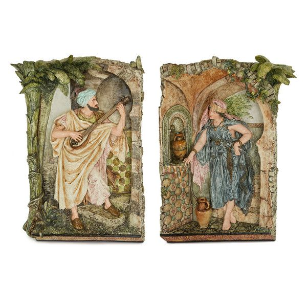 OnlineGalleries.com - Pair of Orientalist antique majolica plaques by Kaffsack