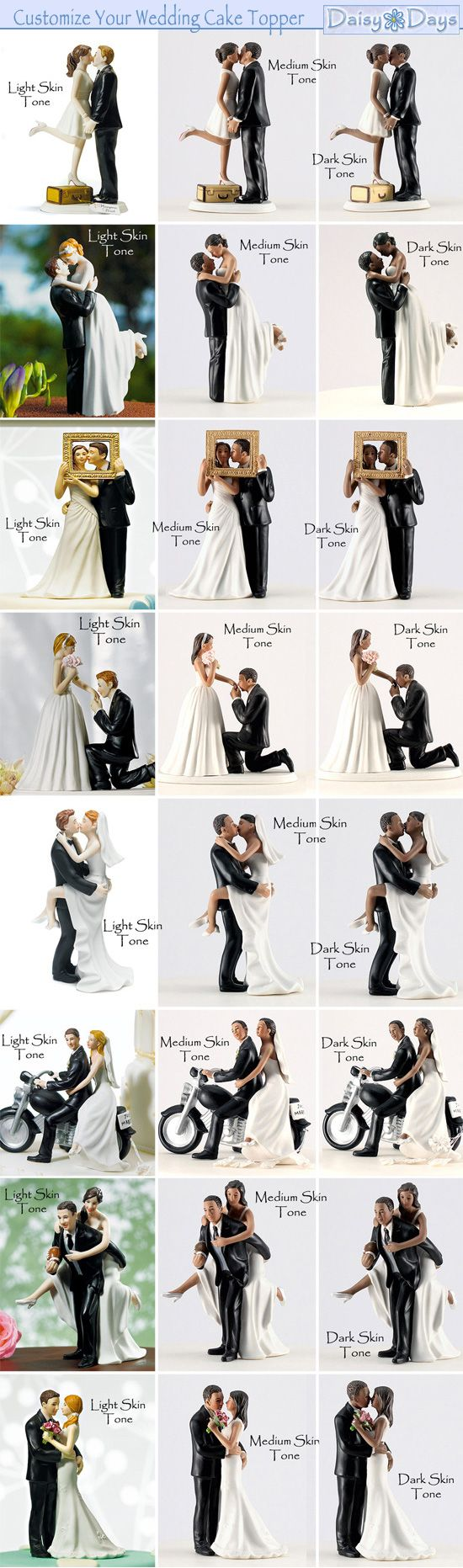 Customizable Wedding Cake Toppers to match your skin and hair tone