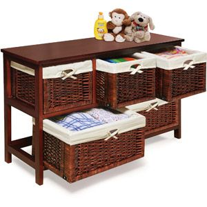 Badger Basket - Wooden Storage Cabinet with Wicker Baskets, Cherry-- to organize by front door