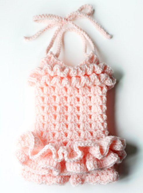 PDF Crochet Pattern for Ruffled Petti Romper by AdorkableCrochet