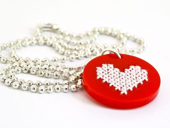 Make your own cross stitch heart necklace with my latest kits