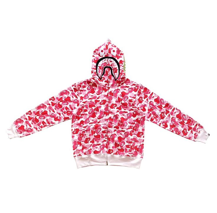 Quirky and pink! Check out this pink camo hoodie by A Bathing Ape! #abathingape #bapecamo #bapeforsale #bape #pinkcamo
