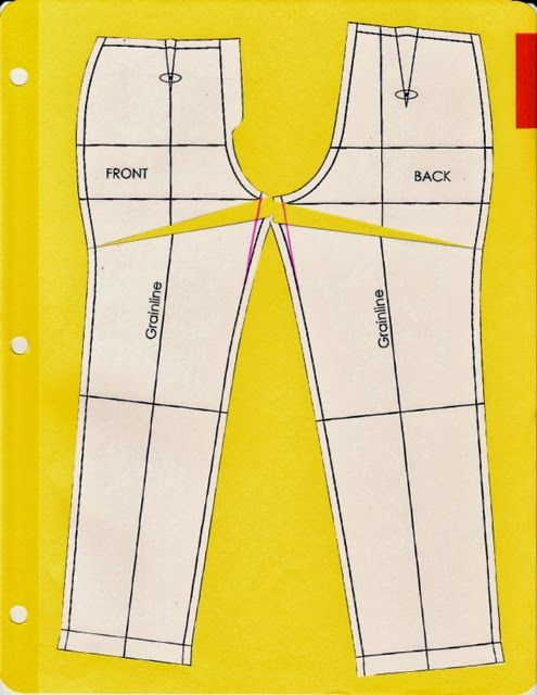 Cation Designs: Pants Pattern Alterations.  Showing in the flat pattern how to make various alterations to fit pants.