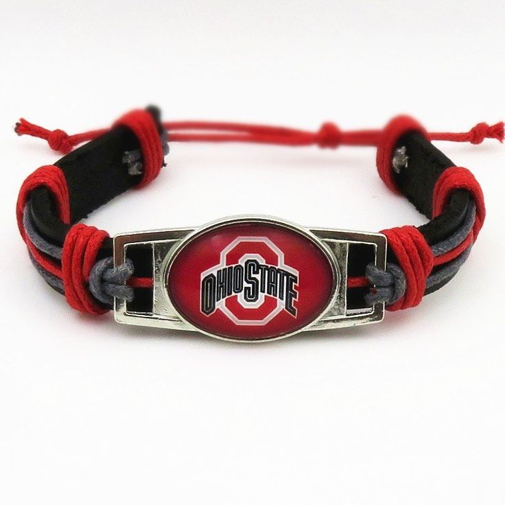 Ohio Buckeyes Football Leather Cuff Bracelet