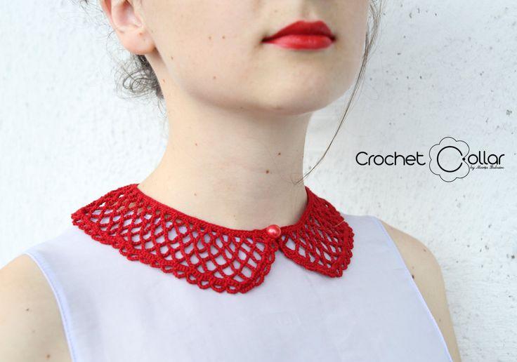Red Uniform Texture Crochet Collar by CrochetCollars on Etsy