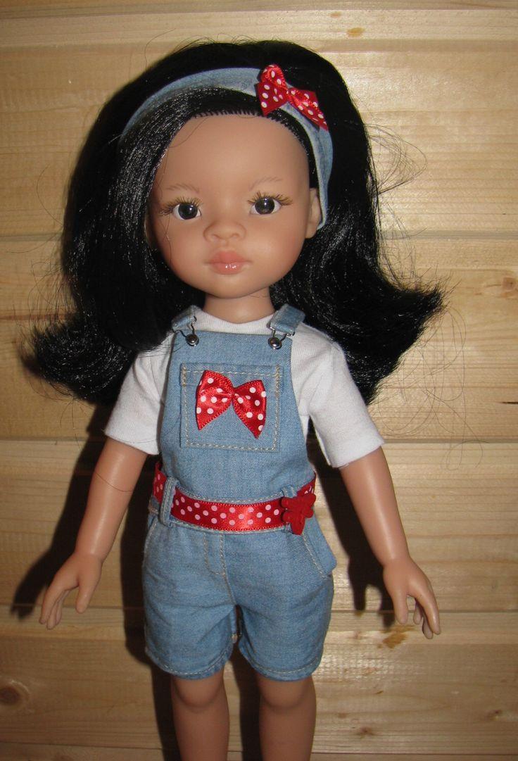 Denim overalls for Paola Reina 32-33 cm doll by NatZayShop on Etsy https://www.etsy.com/listing/460454936/denim-overalls-for-paola-reina-32-33-cm