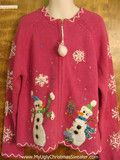 Bling Snowmen and Snowflakes Child Size Ugly Christmas Sweater