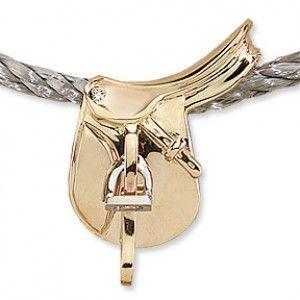 English Saddle Slide Necklace, 14k gold