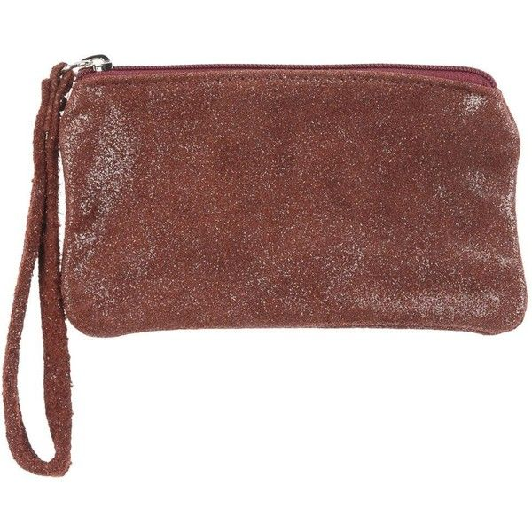 Gallerie Des Meubles Pouch ($42) ❤ liked on Polyvore featuring bags, handbags, clutches, maroon, pouch purse, maroon purse, brown leather handbags, brown pouch and leather pouch purse
