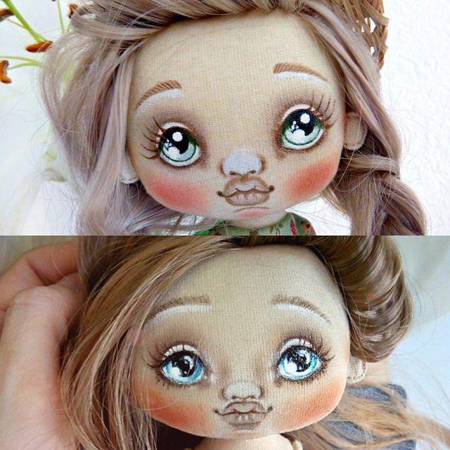 Одно и то же личико, собственно на своих куклах я всегда рисую одно и то же лицо, и на столько разные в итоги выходят. Поиграла с тенями...Вот что значит макияж, не пренебрегайте им