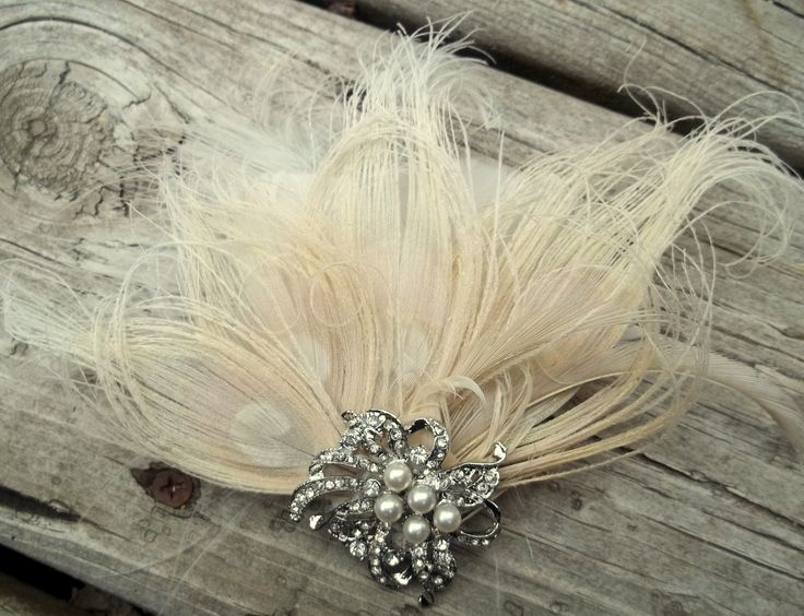 Ivory bridal hair fascinator and french net veil by kathyjohnson3, $68.00