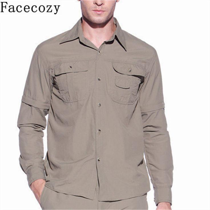 Facecozy männer sommer quick dry wandern shirt abnehmbaren angeln & jagd shirt atmungs klettern hemd männlich outdoor shirts