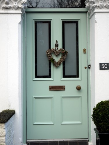 Hardwood,Victorian four panel entrance door with sandblasted double glazed vision panels