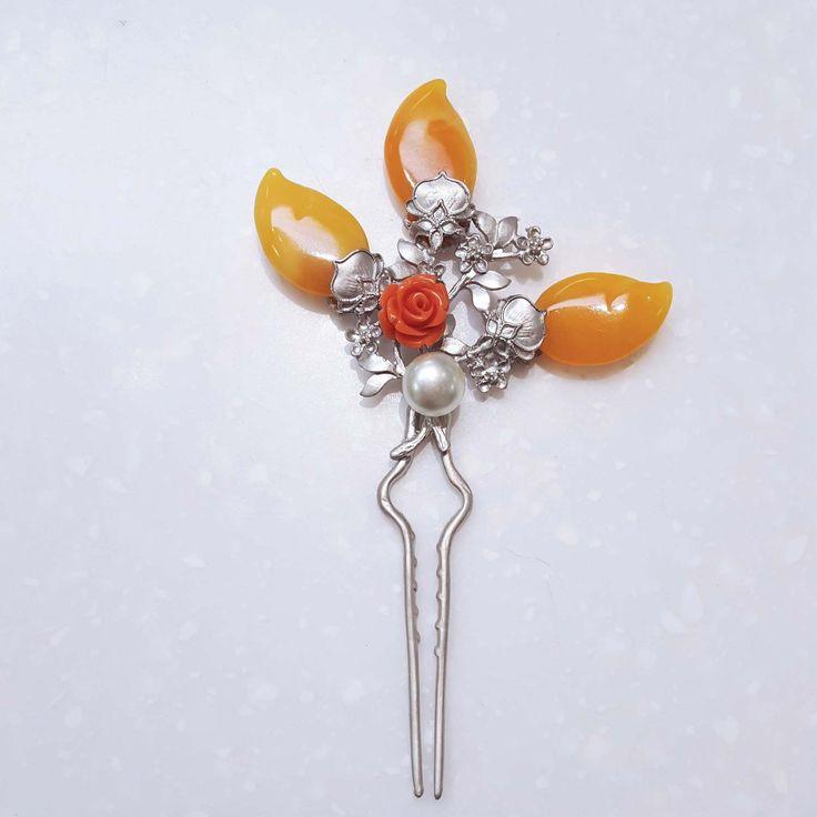 Hanbok Hair Accessory - Orange and Silver