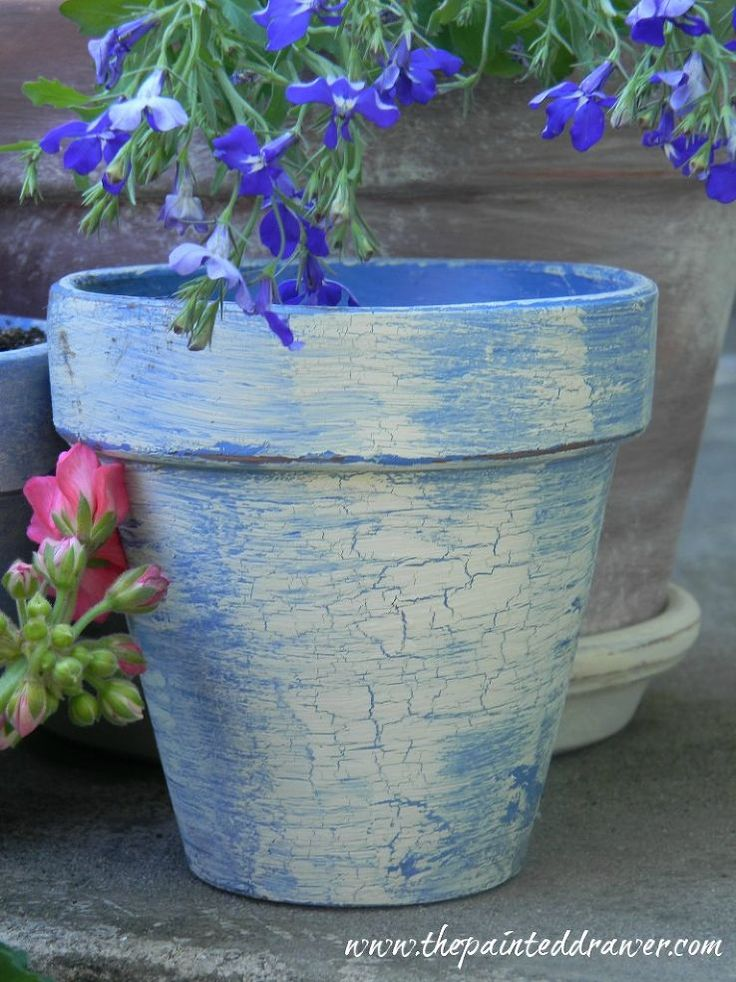 Creating the Look of Vintage, French Flower Pots - True french blue paint with a crackle finish