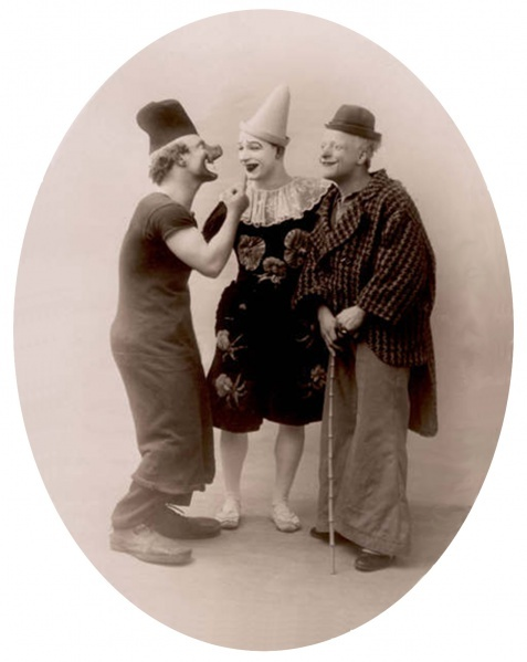 Clown Trio Rivels:  Charlie, René, Polo,    Photo: Johnny Rivel Collection (c.1915-35