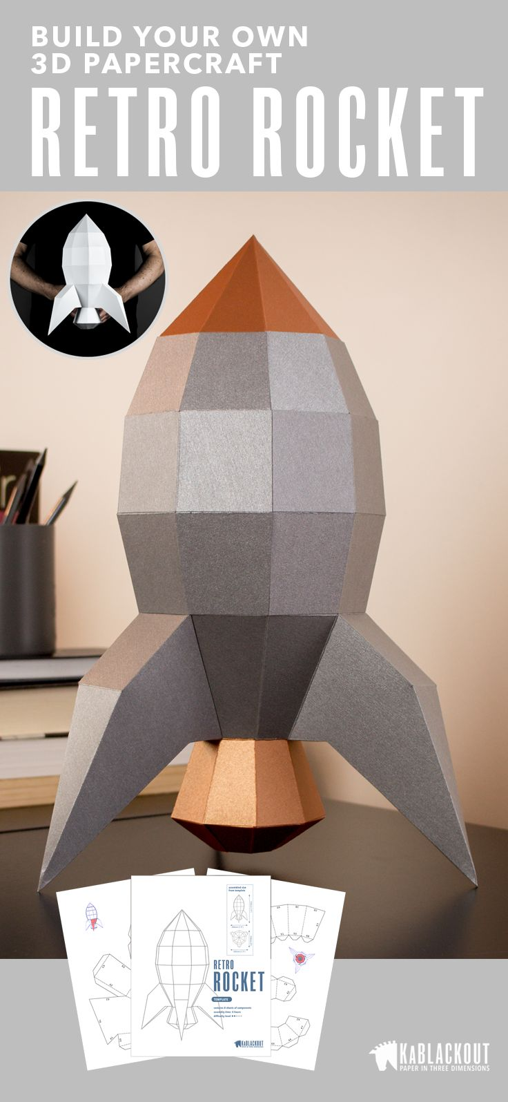 Retro Rocket papercraft. Build your own awesome low poly  paper craft rocket using this easy to follow template. Perfect for a mancave or kids bedroom.  Step by step instructions provide a great DIY craft project. Start creating today! | KaBlackout  #papercraft