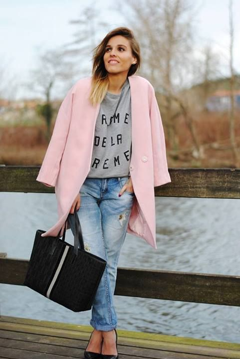 nice coat, jeans and light pink