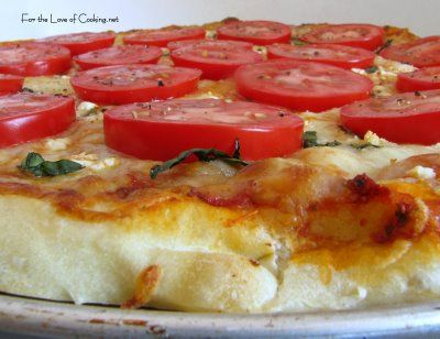 Tomato, Basil, Feta and Garlic Pizza | baking/cooking | Pinterest