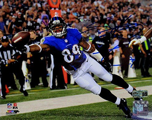 Steve Smith Sr Autographed/Signed Baltimore Ravens 8x10 NFL Photo - Stretch