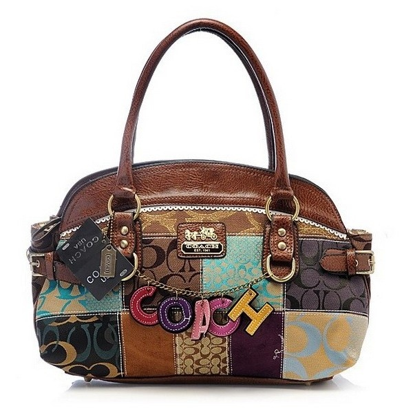 Coach Outlet Holiday Patchwork Coffe Satchel Bag found on Polyvore