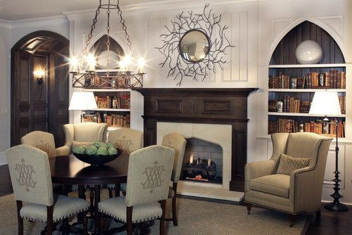 Modern Goth Decor... liking some of this a lot, especially the bookshelves in the arch!