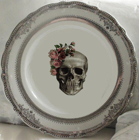 Skull with roses Gothic Design 3 Jumbo Fridge Magnet