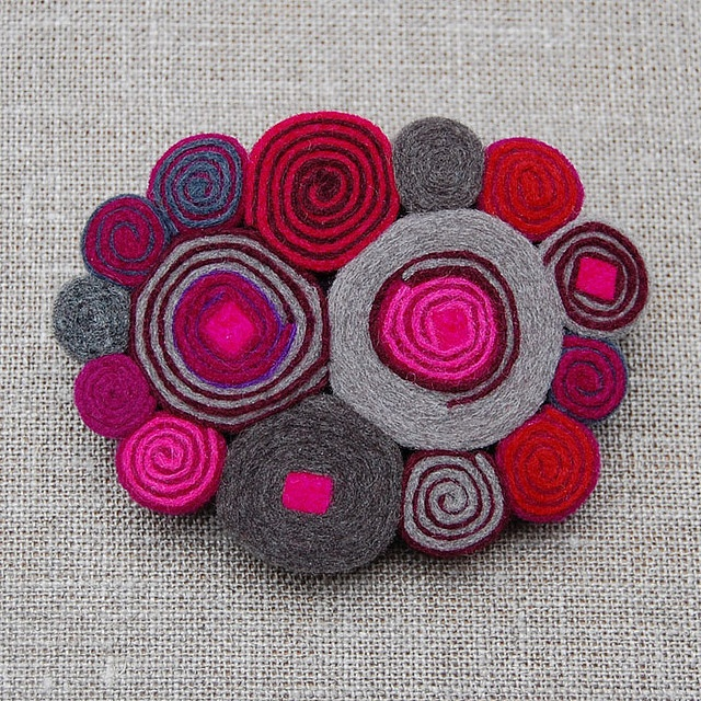 brooch...ornament to use up all the wool scraps and remember the great colors