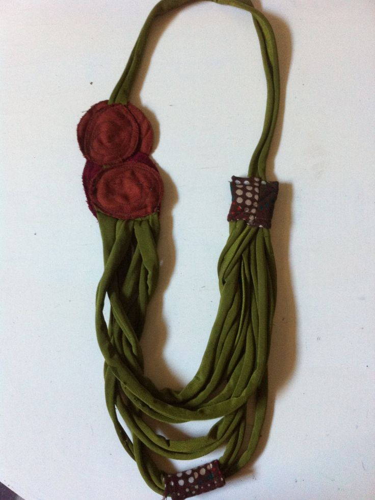 Fabric Necklace (type1)-*7 Tapes Sewn-Creative Recycling collection-handmade-by GiuvaDesign di GiuvaDesign su Etsy