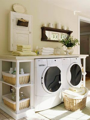 washer / dryer cabinet built with shelves: Spaces, Dreams Laundry Rooms, Clean, Countertops, Washer And Dryer, Shelves, Wash Machine, Laundry Area, Rooms Ideas