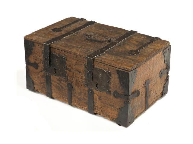 A late 15th/early 16th century Westphalian iron-bound oak casket, circa 1500