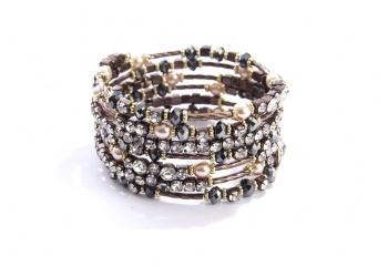 Seven Row Crystal and Pearl Coil Bracelet