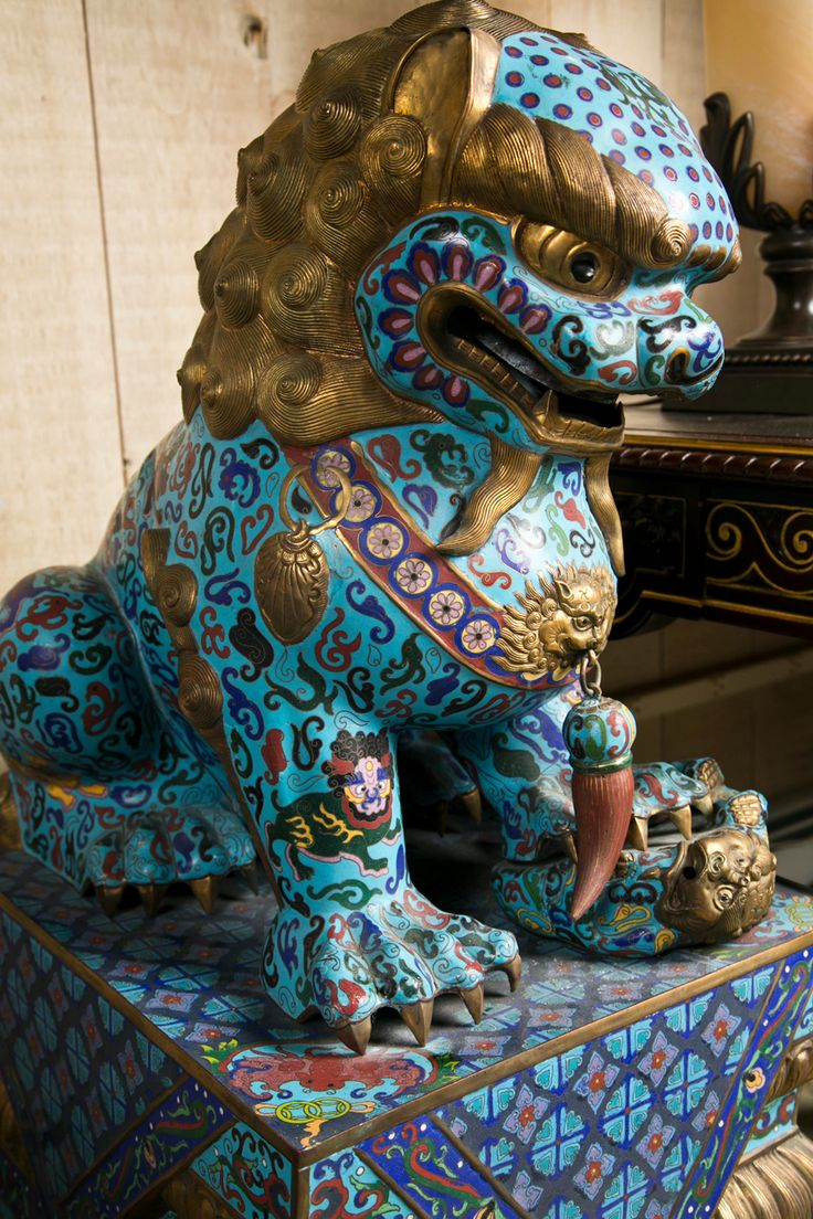 xx..tracy porter..poetic wanderlust...-  Large Pair of Chinese Cloissone Foo Dogs
