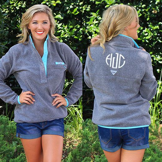 Adorable Monogrammed COLUMBIA Pullover Fleece! Available in 3 Colors on Marleylilly.com!