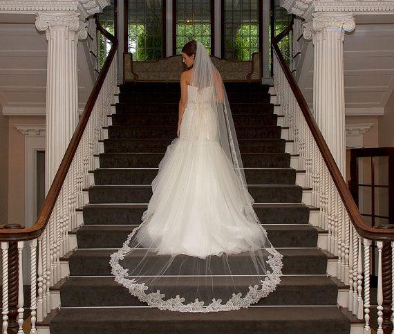 Cathedral Lace Veil Alencon lace bridal by CoutureBrideBoutique
