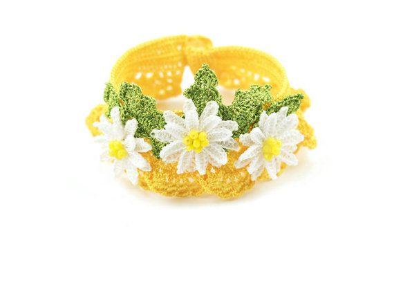 Bracelet-Bohemian Handmade Yellow Crochet Statement White