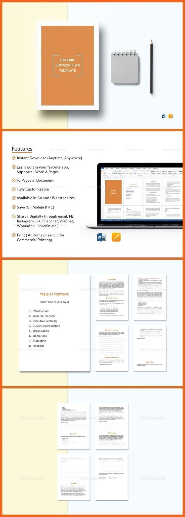 Daycare Business Plan Template - $12 Formats Included :MS Word, Pages File Size :8.27x11.69 Inchs, 8.5x11 Inchs Pages :10 #daycarebusinessplan