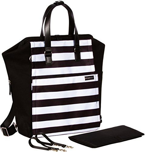 Diaper Bag Backpack Convertible Baby Bag by Babyboo 16  with Changing Pad and Stroller Strap  Super Versatile and Classy  Black and White  Cute Designer Diapers Bags Cotton Black White ** Read more  at the image link.
