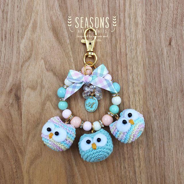 #custommade for #babyowlamigurumi #bagcharm Three in one!  #amigurumi #owlamigurumi #babyowl #crochet #handmade #madewithlove #cuteamigurumi #cuteplush #marshmallow #keychain #handmadekeychain #pastelcolor #jualbagcharm #jualkeychain #handmadecraft #handmadebagcharm #custombagcharm #bagcharmjakarta