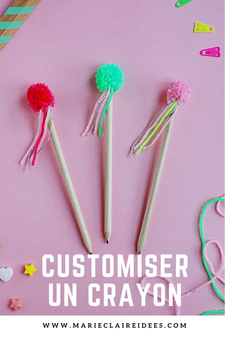 Comment customiser un crayon avec un pompon / comment faire un pompon avec une fourchette
