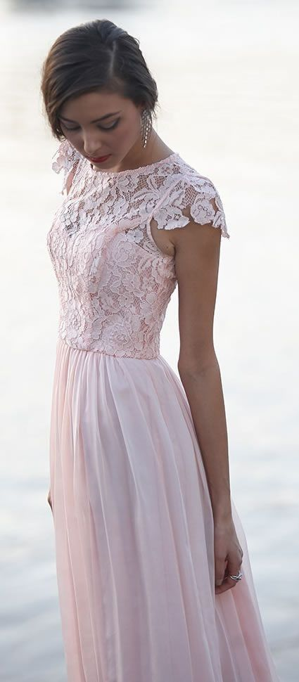 Elegant Floral chiffon lace with short sleeves modest long pink lace bridesmaid dress, prom dress
