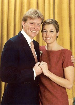Prins van Oranje en Máxima Zorreguieta                          Verlovingsportret 30-03-2001