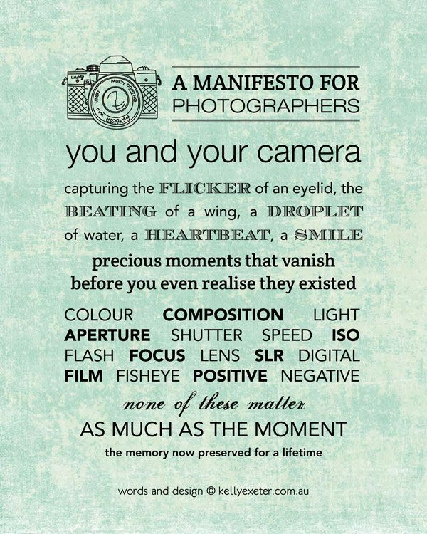 A Manifesto for Photographers