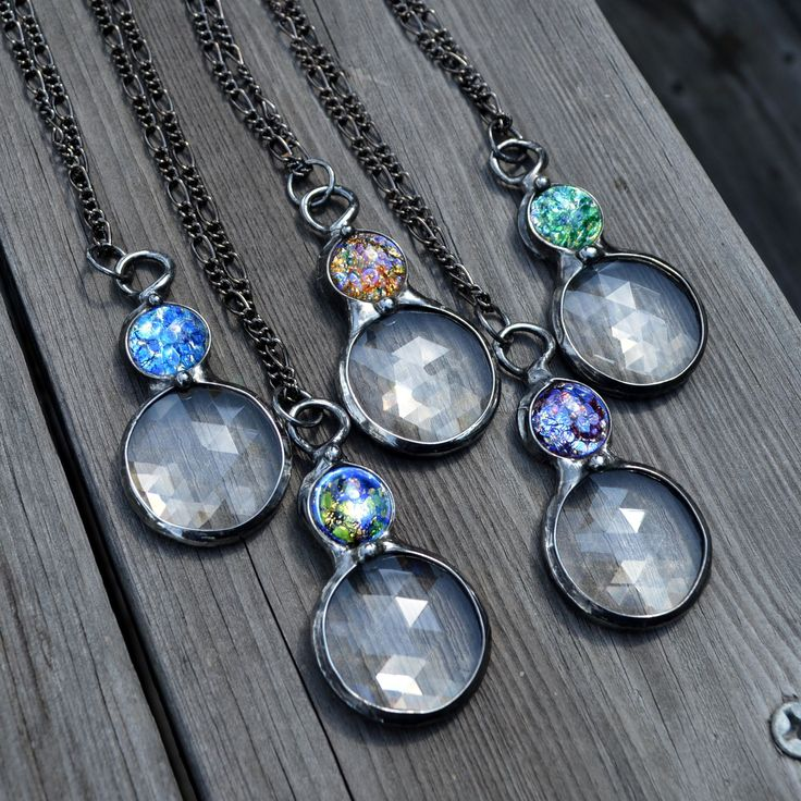 New Kaleidoscopes ! Recently added to my shops. Vintage glass opals inset atop faceted glass prisms. Amazing sparkle.