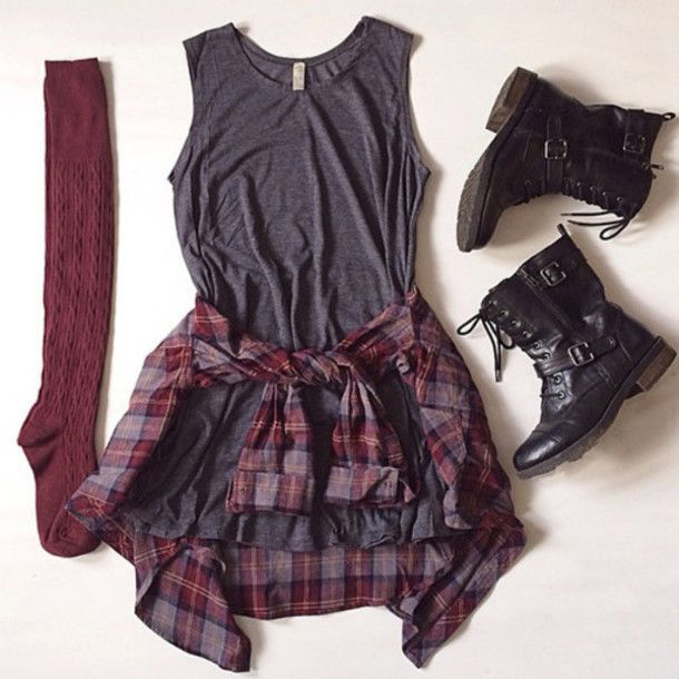 grey combat boots socks flannel burgundy fall outfits top shoes knee high socks checked shirt cool flannel shirt grunge boots tumblr outfit checkered punk rock vintage black black and white grey dress plaid flannel shirt dress