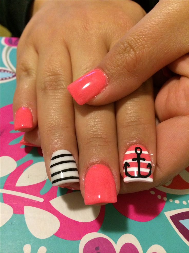 acrylic nails anchor stripes acrylic nails pinterest. Black Bedroom Furniture Sets. Home Design Ideas